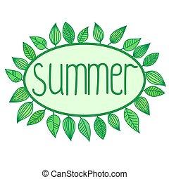 verão, sinal, com, folhas, ao redor, frame oval