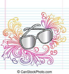 verão, sketchy, óculos de sol, doodle