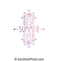 verão, slogan, isolado, mão, white., desenhado, já, melhor