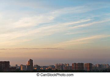 verão, sobre, céu, pôr do sol, cidade