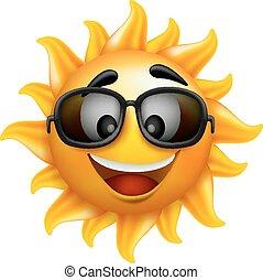 verão, sol, óculos de sol, rosto