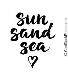verão, sol, areia, mão, chamada, escova, mar, desenhado, lettering., cartão