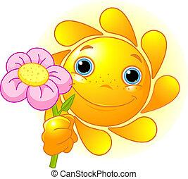 verão, sol, com, flor