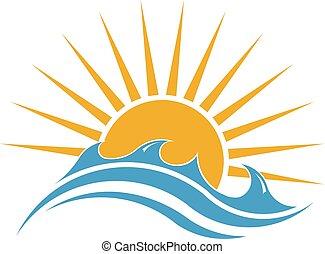 verão, sol, ensolarado, desenho, sea., logotipo