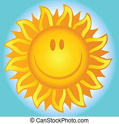 verão, sol sorridente
