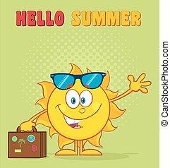 verão, sorrindo, personagem, sol