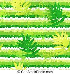 verão, stripesseamless, pintado, padrão, folhas, verde