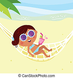 verão, sunbathing, holiday:, &, biquíni, vetorial, menina, hammock., illustration.