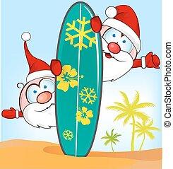 verão, surfboard, claus, fundo, santa, caricatura