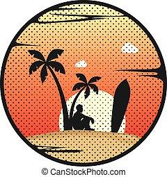 verão, surfista, feriados praia, onda