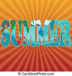 verão, título, ligado, laranja