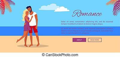 verão, teia, praia, par abraçando, encantador, bandeira