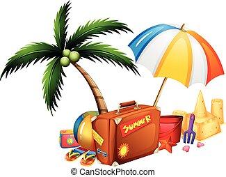 verão, tema, brinquedos, mala