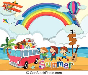 verão, tema, furgão, crianças