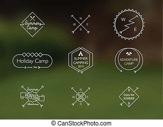 verão, themed, acampamento, linha magra, emblemas
