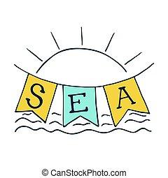verão, time., vetorial, ilustração, de, sol, ícone, e, mar