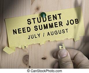 verão, trabalho, sazonal, trabalhos, busca