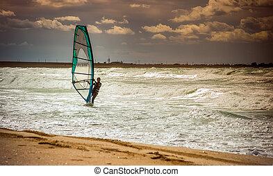 verão, treinamento, conceito, estilo vida, velejando, lazer, windsurfing, água, mar, ondas, ativo, windsurfer, desporto, dia