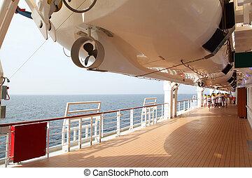 verão, treinamento, convés, pessoal, ensolarado, conduta, navio, rescuer, dia