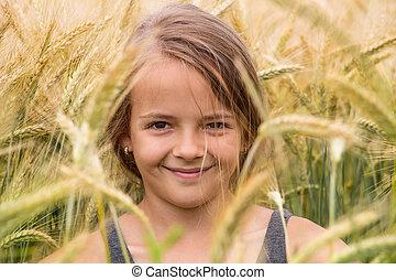 verão, trigo, jovem, campo, Retrato, menina