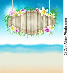 verão, tropicais, fundo