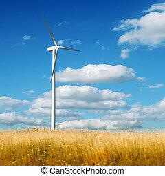 verão, turbina, paisagem, dê gerador corda