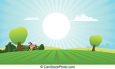 verão, vaca leiteria, paisagem