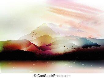 verão, vale, lago, montanhas