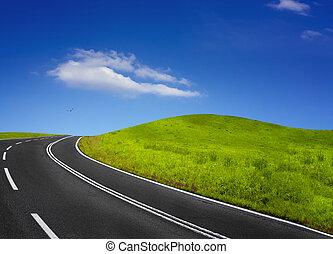 verão, vazio, estrada