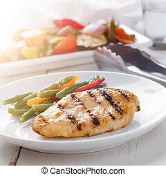verão, vegetables., grelhando, -, tempo, galinha grelhada