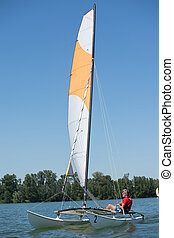 verão, velejando, -, lago, esportes, tema