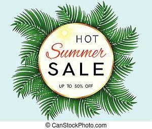 verão, venda, tropicais, leafs., quentes, palma, bandeira