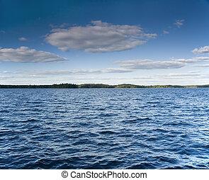 verão, ventoso, lago