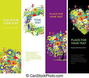 verão, vertical, desenho, floral, bandeiras, seu