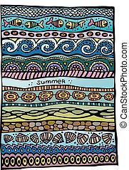 verão, vetorial, desenho, fundo, mar