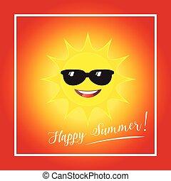 verão, vetorial, dia ensolarado, feliz
