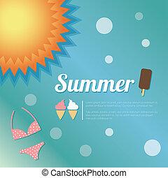 verão, vetorial, feriado, cartão