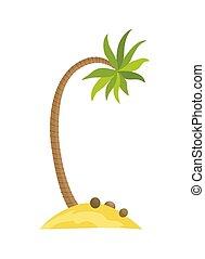 verão, vetorial, ilha, ondas, tropics., isolado, ilustração, férias, tropicais, experiência., árvore., palma, mar, sob, praia branca, caricatura