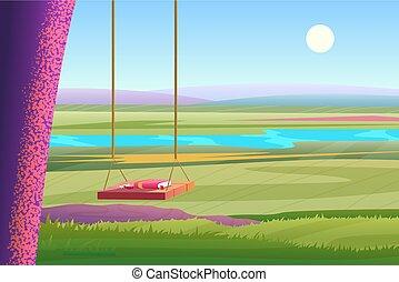 verão, vetorial, illustration., relaxante, paisagem., madeira, árvore, ensolarado, caricatura, stylized, luminoso, livro, balanço, rio, dia, vista