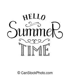verão, vetorial, lettering., tempo