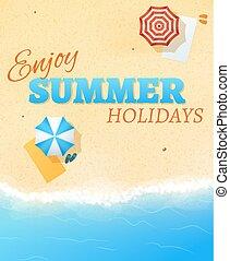 verão, vetorial, modelo, bandeira, voador, fundo, partido, praia