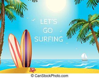 verão, viagem, cartaz, surfboards, fundo