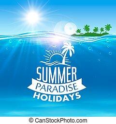 verão, viagem, férias, desenho, feriado, ícone