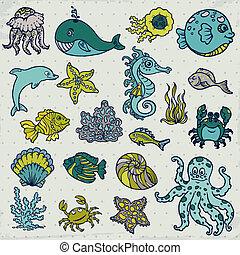 verão, vida, peixe, estrela mar, -, vetorial, desenho, carangueijo, concha, scrapbook, criaturas