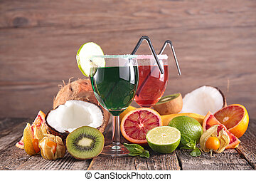 verão, vidro, partido, fruta, fresco, coquetel, bebendo