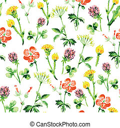 verão, vindima, pattern., seamless, aquarela, wildflowers, retro, fundo, floral