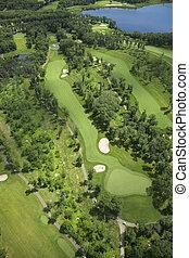 verão, vista, aéreo, campo golfe