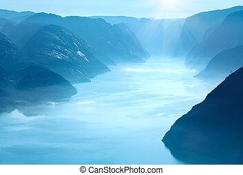 verão, vista, (norway), lysefjorden, manhã