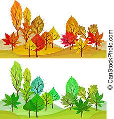 verão, vistas, árvores., seamless, outono, padrão