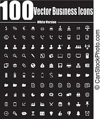 ver, 商務圖標, 矢量, 100, 白色